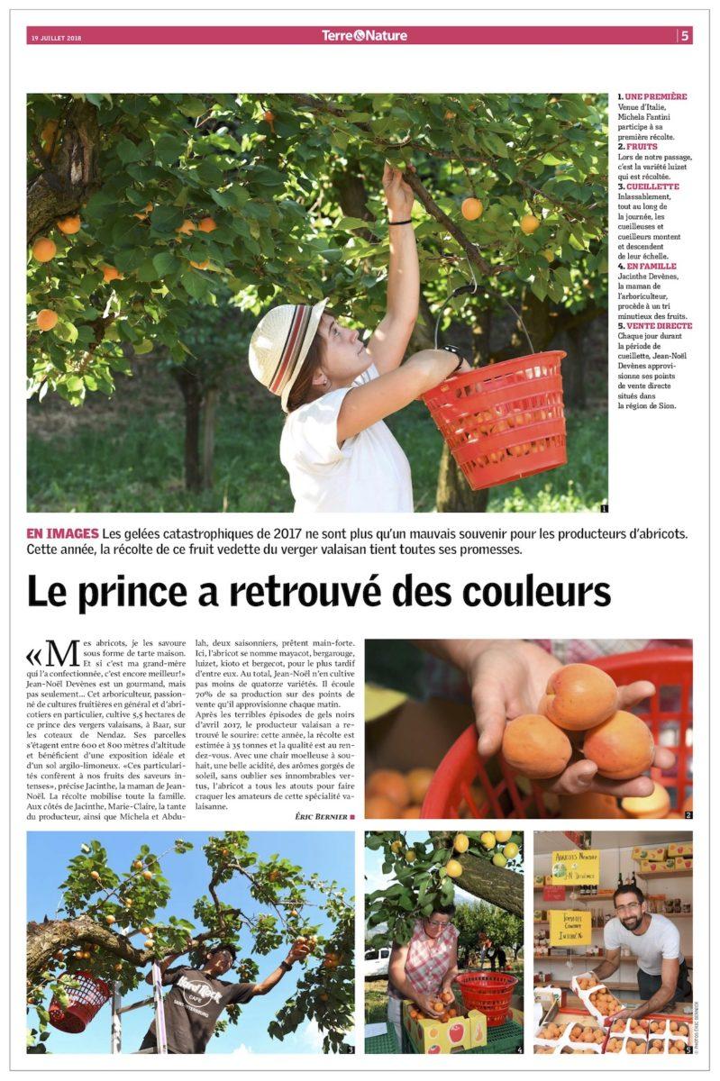 « Le prince a retrouvé des couleurs », Article Terre & Nature, 19 juillet 2018